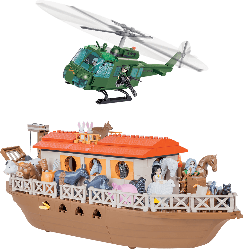 Air Calvary HUEY helicopter and Noah's Ark building set