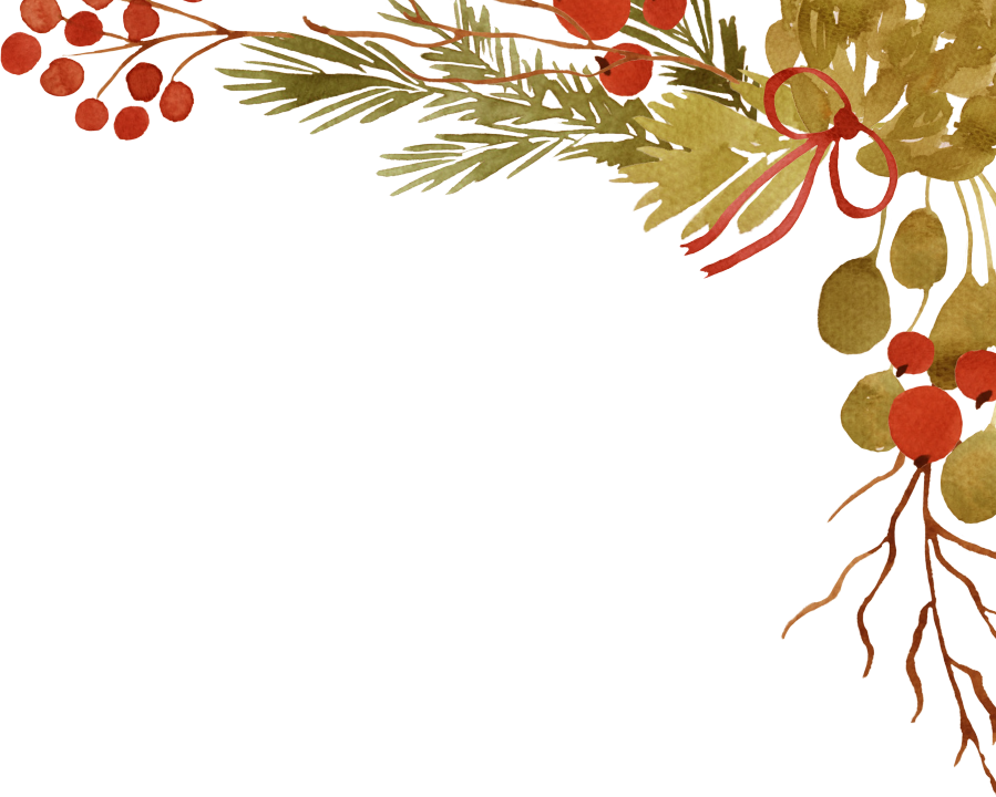 illustration of bouquet of holly branches