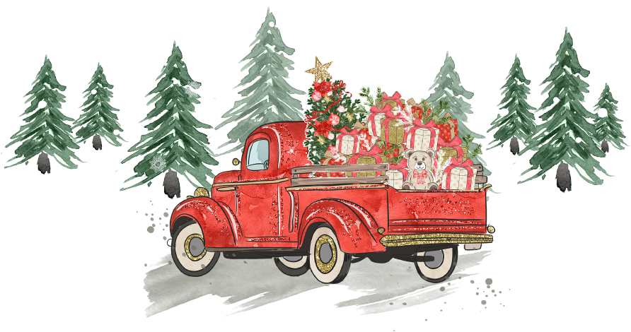 red truck illustration with gifts in the trunk