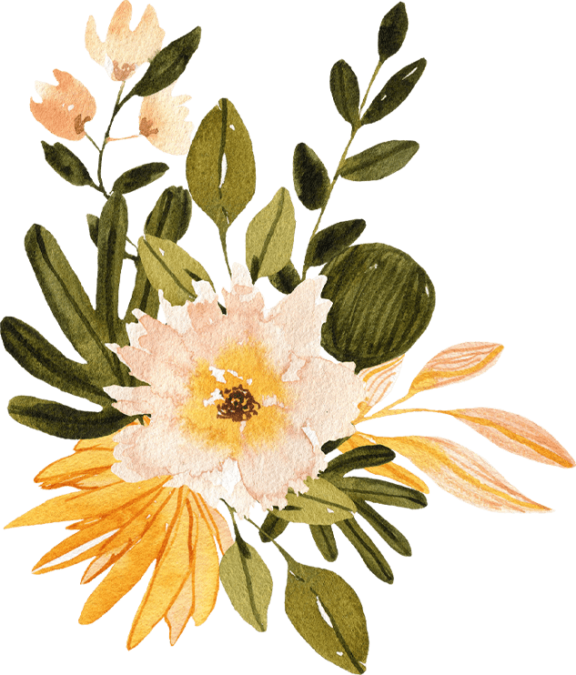 watercolor of a yellow and pink flower with various green leaves